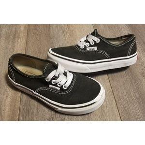 Kids Authentic Black White Vans Size 13.5